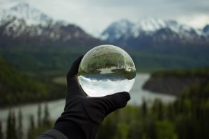 creative image of transparent ball in the nature