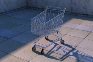 empty shopping cart on a therase