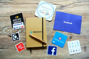 stickers with social media platforms logos