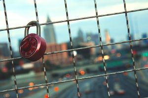 padlock on a bridge